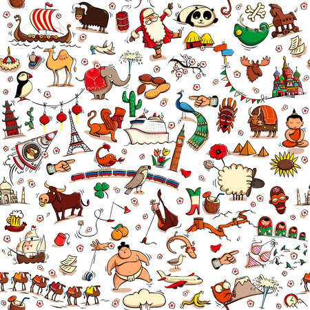 sight seeing: Around the World seamless pattern in colors on white background. Collection of various isolated objects, sights, animals and characteristic. Illustration is eps10 vector, background separated.