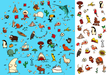 difficult to find: World Travel Visual Game: How many items from the right you can find on a picture? Solution in hidden layer. Illustration is in eps10 vector mode, elements are isolated.