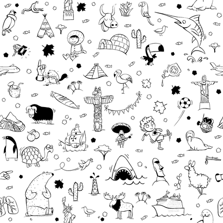 흑백 완벽 한 패턴입니다. 다양 한 고립 된 개체, 명소, 동물 및 특성의 컬렉션입니다. 그림 eps10 벡터, 배경 구분입니다.