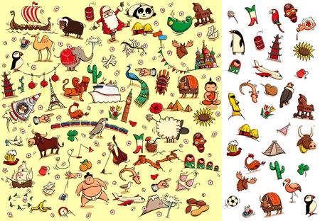 World Travel Visual Game: Hoeveel artikelen van rechts dat je op een foto kunt vinden? Oplossing in verborgen laag. Illustratie is in eps10 vector modus, elementen zijn geïsoleerd. Stock Illustratie