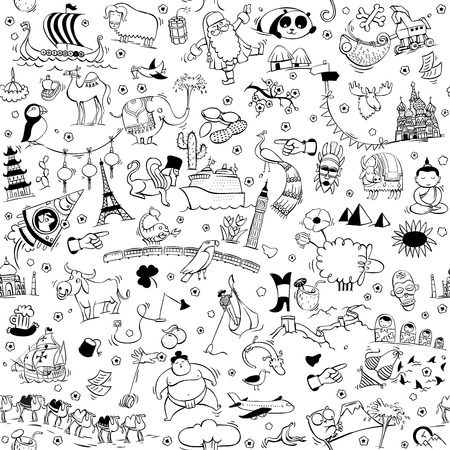 Around the World seamless pattern in black and white. Collection of various isolated objects, sights, animals and characteristic. Illustration is eps10 vector, background separated.