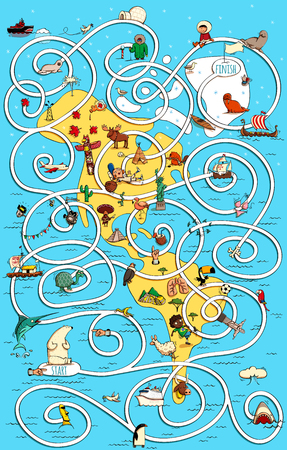 Travel America Great Maze Game. Task: Polar bear is lost. Find him the right way home! Solution in hidden layer. Illustration is in eps10 vector mode, with lots of educational details.