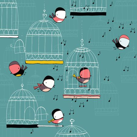 Birds and cages on music background. Cartoon set. EPS10 vector file.