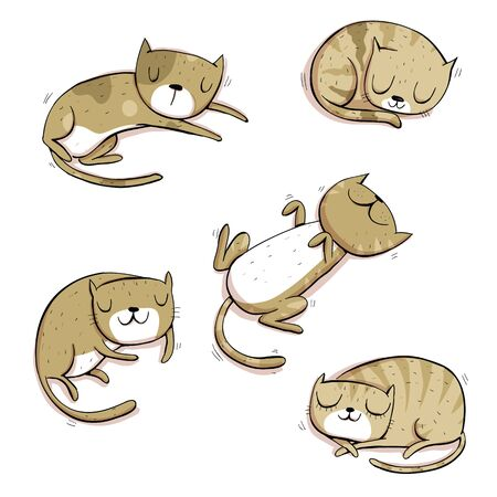 Collection of different cats in gray. Cartoon set. Иллюстрация