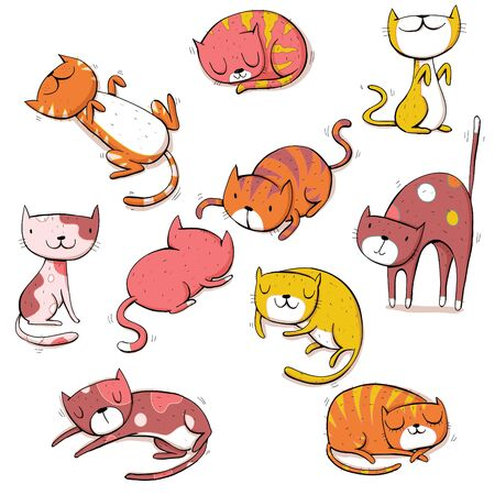 Collection of different cats in colors. Cartoon set. Фото со стока - 148084959