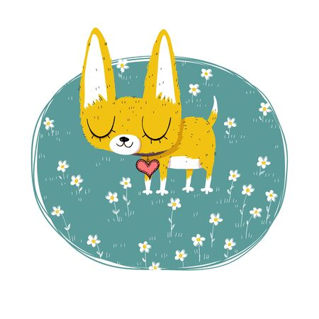 Cute chihuahua illustration with flowers. Иллюстрация