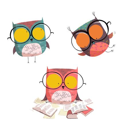 Cute Owls with glasses collection. Cartoon set isolated. EPS10 vector file.