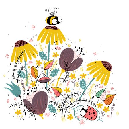 Honey bee illustration with floral background. Cartoon set. EPS10 vector file.