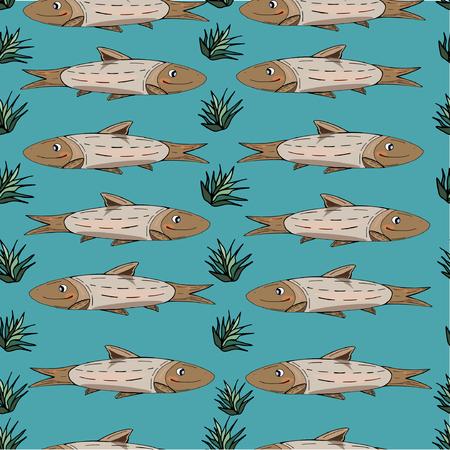 Fish pattern illustration. Blue vector background.