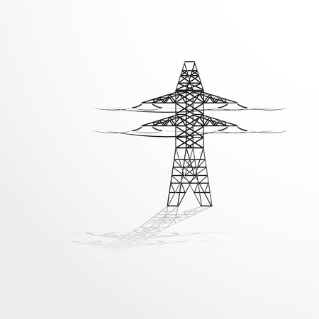 telegraph: Pole with wires. Vector illustration. Illustration