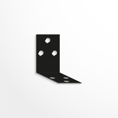 unattached: Hardware elements. Mounting element for wall boxes. Vector illustration. Black and white view.