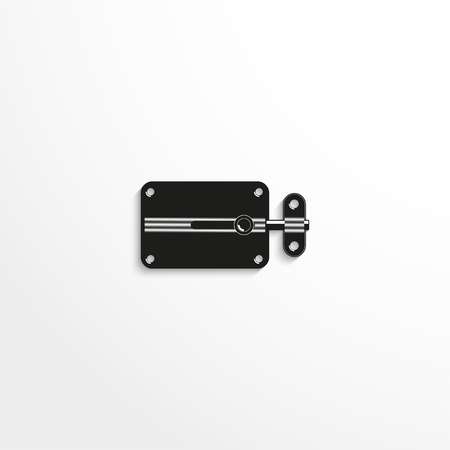 latch: Hardware elements. Door latch. Vector illustration. Black and white view.