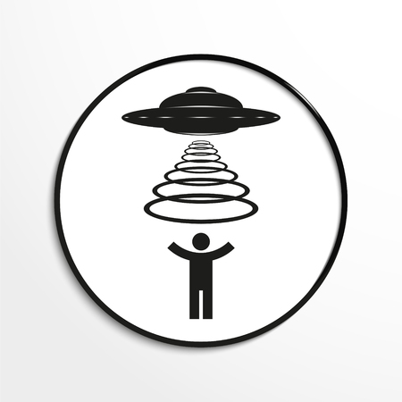 kidnapping: Kidnapping aliens. Vector illustration. Black and white view.