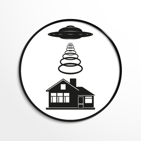 unidentified flying object: Unidentified flying object over a private home. Vector illustration. Black and white view.
