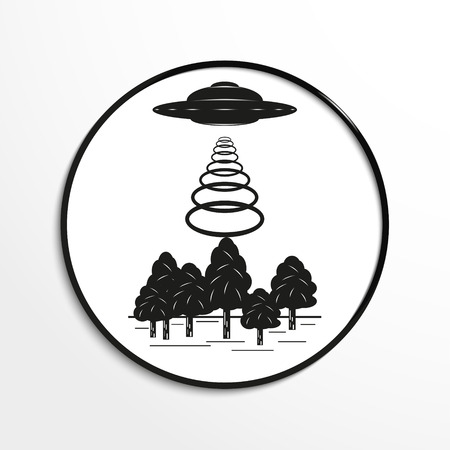 unidentified flying object: Unidentified flying object over the forest. Vector illustration. Black and white view.