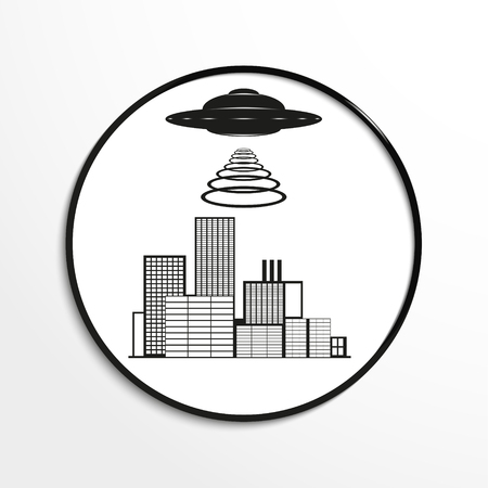 unidentified flying object: Unidentified flying object over a modern city. Vector illustration. Black and white view.