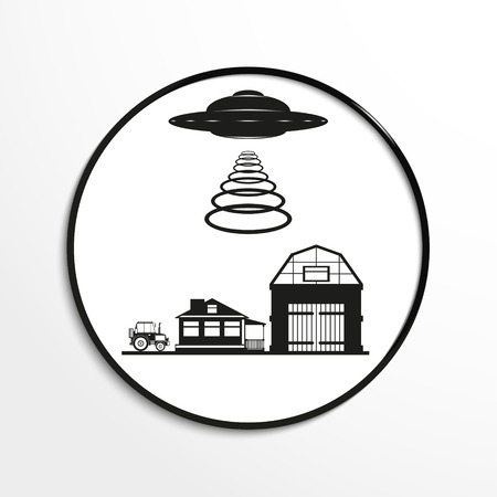 unidentified flying object: Unidentified flying object over the countryside. Vector illustration. Black and white view. Illustration