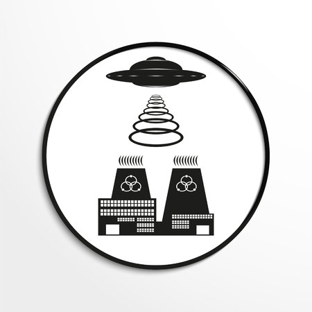 unidentified flying object: Unidentified flying object over a nuclear power plant. Vector illustration. Black and white view. Illustration