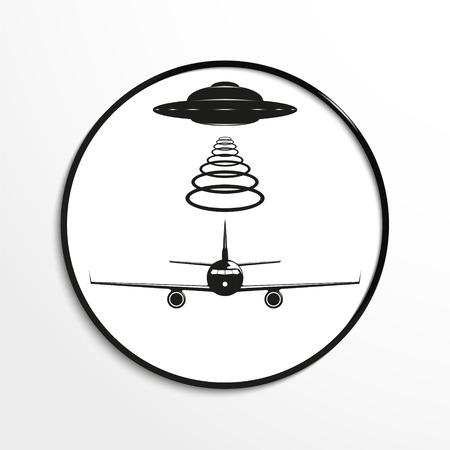 unidentified flying object: Unidentified flying object over the aircraft. Vector illustration. Black and white view. Illustration