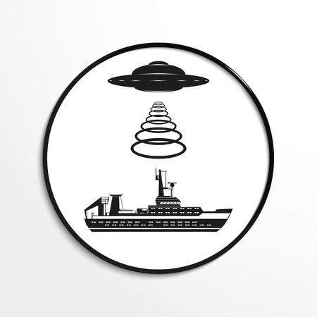unidentified flying object: Unidentified flying object over the ship. Vector illustration. Black and white view. Illustration