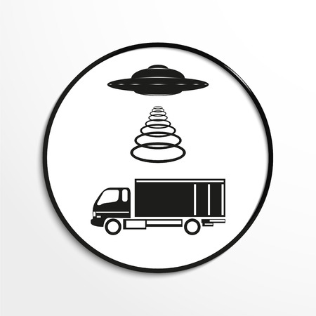 unidentified flying object: Unidentified flying object over the truck. Vector illustration. Black and white view.
