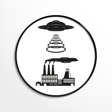 flying object: Unidentified flying object over the factory. Vector illustration. Black and white view.