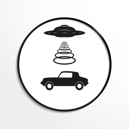 unidentified flying object: Unidentified flying object over the car. Vector illustration. Black and white view. Illustration