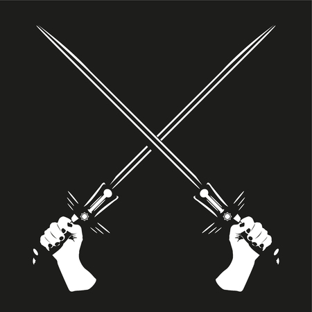 Two crossed swords in their hands. Vector illustration. Black and white view. Illustration