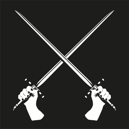 cold war: Two crossed swords in their hands. Vector illustration. Black and white view. Illustration
