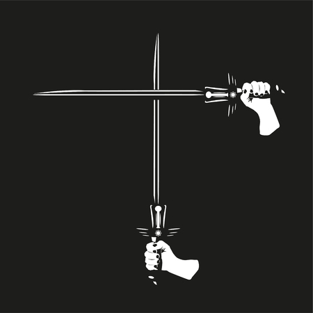 broadsword: Two crossed swords in their hands. Vector illustration. Black and white view. Illustration