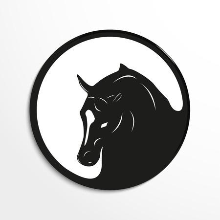 Paard het hoofd. Vector illustratie. Zwart en wit oog.