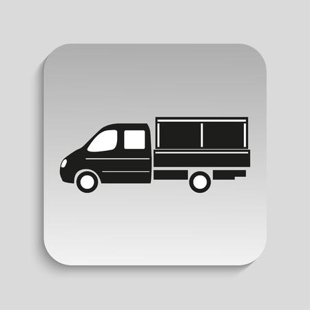 automotive industry: Truck. Black vector icon Illustration