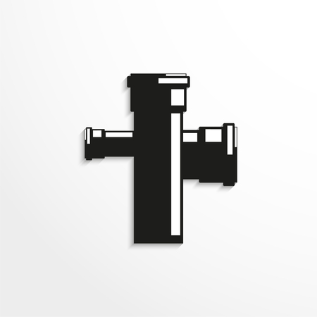 coupling: Sanitary elements. Connector for sewer pipes. Vector illustration. Illustration