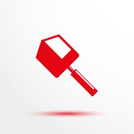 unearth: Folding Shovel. Vector icon.