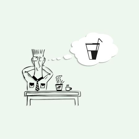 short break: Dreams of a tasty drink in the lunch break at work. Vector illustration. Illustration