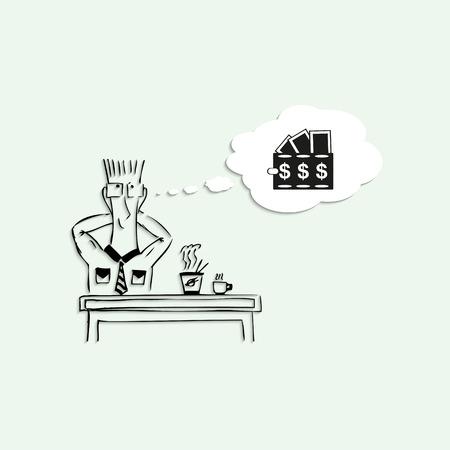 short break: Dreams of a large amount of money in the lunch break at work. Vector illustration. Illustration