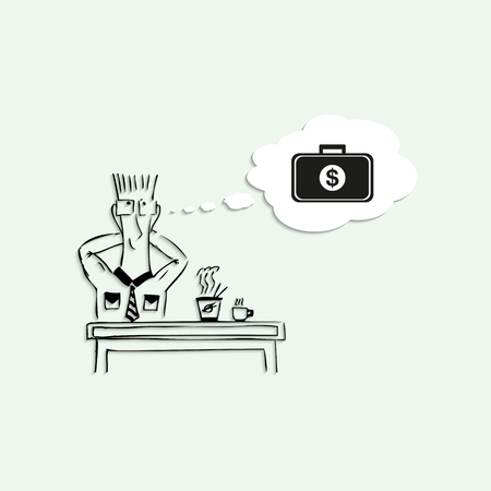 break in: Dreams of a large amount of money in the lunch break at work. Vector illustration. Illustration