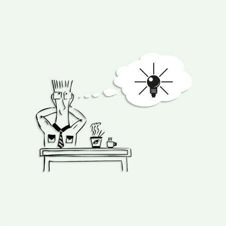 good break: A good idea in a lunch break at work. Vector illustration.