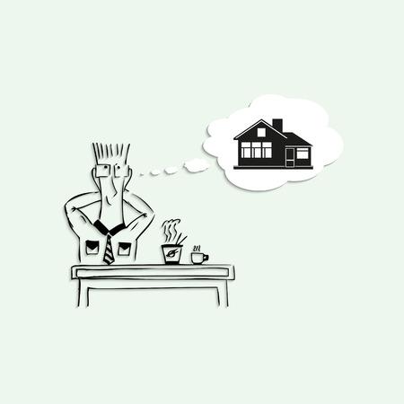 Traum vom eigenen Haus, in der Mittagspause bei der Arbeit. Vektor-Illustration.