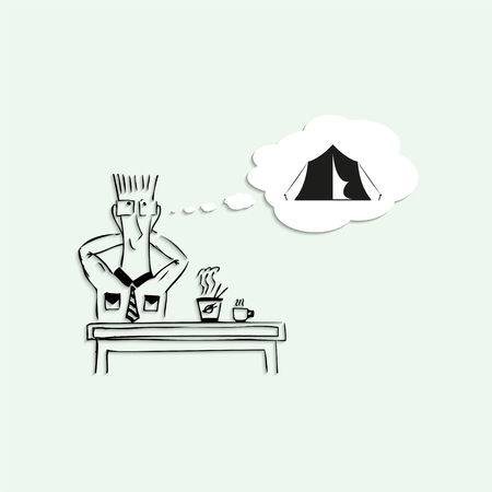 short break: Dream vacation at the camp, during the lunch break at work. Vector illustration. Illustration