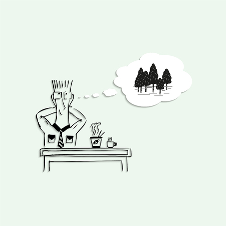 lunch break: Dreams of a trip to the woods, during the lunch break at work. Vector illustration.