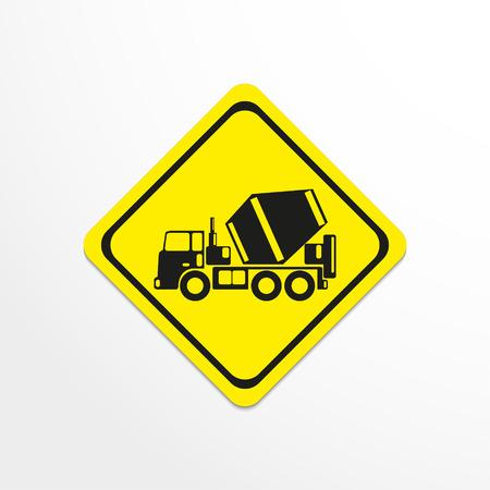hauler: Truck concrete mixer. Vector icon.