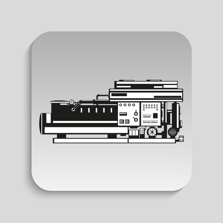 lathe: Industrial equipment. Machine. Vector icon.