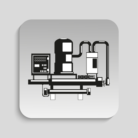 factory automation: Industrial equipment. Machine. Vector icon.