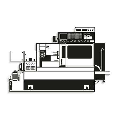 lathe: Industrial equipment. Vector illustration.