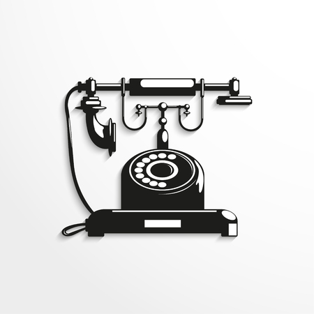 Old phone. Vector illustration. Black and white view.