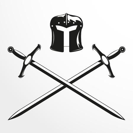 combat: Combat helmet and two swords. Vector illustration.