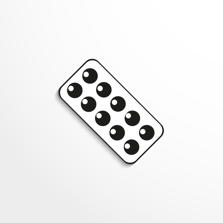 blisters: Plate with pills. Vector icon. Black and white view