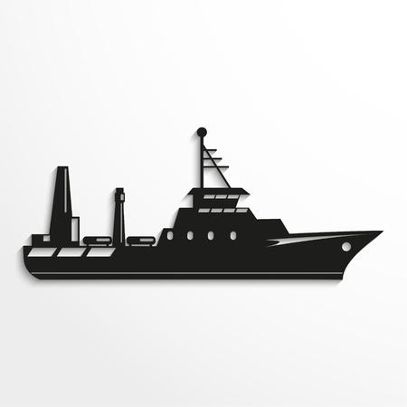 water carrier: Ocean ship. Vector illustration.