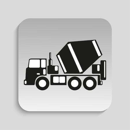 truck concrete mixer: Truck concrete mixer. Vector icon.